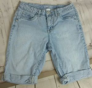 Women's denim distressed shorts